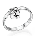 N1014 - 925 Sterling Silver Personalized Initial Dangle Heart Ring