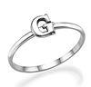 Sterling Silver personalized initial letter ring online store in SA