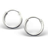 C765-C552 - 925 Sterling Silver Round Hoop Earrings 16mm, 2mm thick