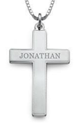 N87 - 925 Sterling Silver Personalized Cross Necklace, thick box chain