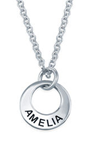 N1017 - 925 Sterling Silver Personalized Tiny Disc Name Necklace