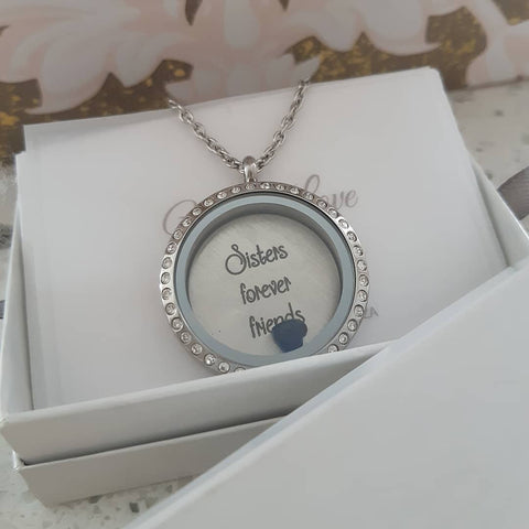 FL1+FLPD2 - Floating Locket Necklace with Personalized Plate & Birthstone