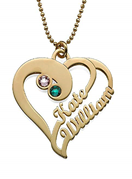 N68 - Two Hearts Forever One, Gold Plated Sterling Silver Necklace with Birthstones.