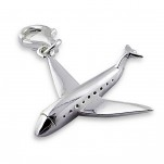 C11-2730 - 925 Sterling Silver Airplane Charm Dangle for Charm bracelet