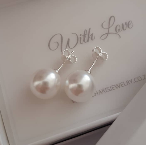 E15-C14650 - 925 Sterling Silver Large SN Pearl Ear Stud Earrings 10mm