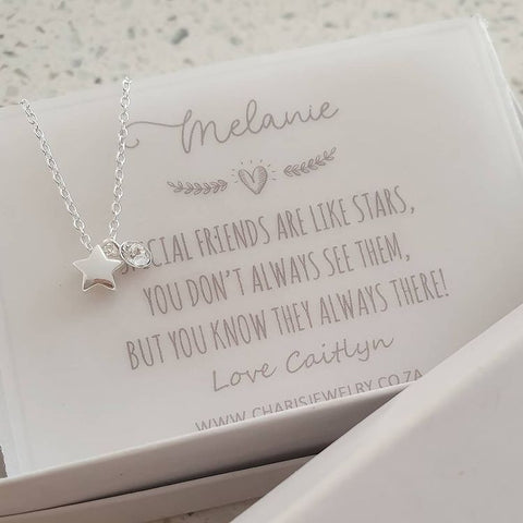 A157-C40239 - 925 Sterling Silver Star Necklace with Note, 6mm on 45cm chain