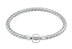 C6078-C31500 - 925 Sterling Silver Leather Silver European Bracelet, 19cm