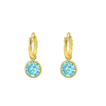 C701-C37123 - Gold over 925 Sterling Silver CZ Hoop Earrings