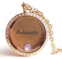 FL50 - High Quality Gold Plated Floating Locket Necklace Set with personalized disc & birthstone