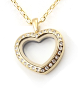 FL54 - Small Heart Floating Locket, Gold Plated High Quality Stainless (Only fits photo / Birthstones)