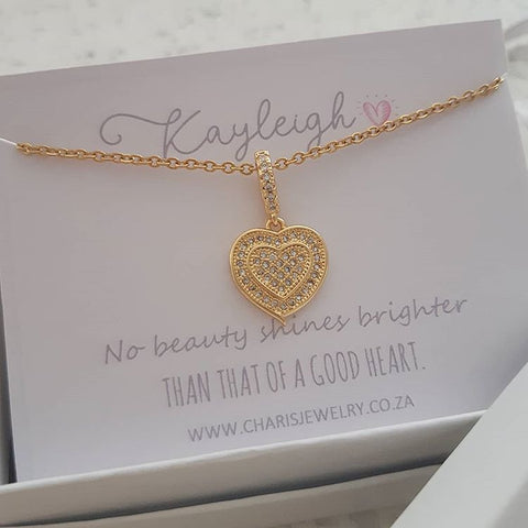 Heart Necklace, Gold Stainless Steel with CZ Stones on Personalized Card