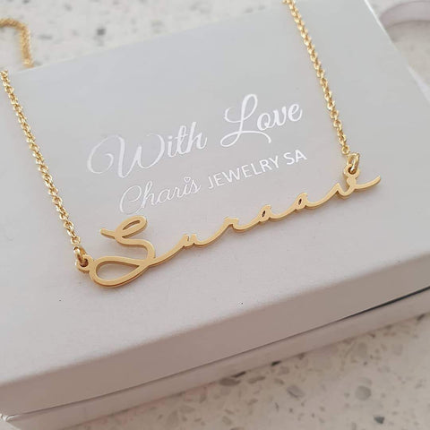 N46 - Personalized Signature Style Name Necklace, 18K Gold Plated 925 Sterling Silver
