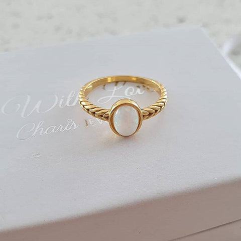 C1361-C36335 - Gold Plated 925 Sterling Silver Fire and Snow SN Opal  Ring