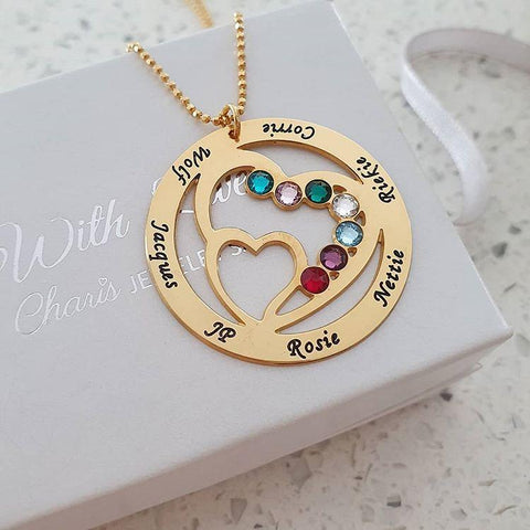 N298 - Personalized Names & Birthstones Necklace, Gold Plated