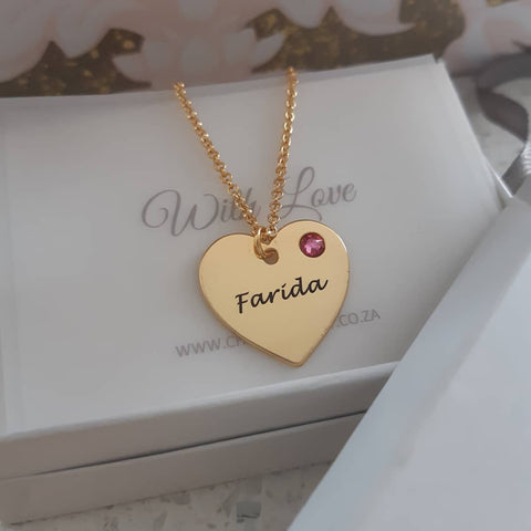 N133 - Gold Plated 925 Sterling Silver Personalized Engraved Heart Necklace and Birthstone