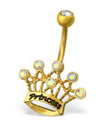 C315-C32978 - Stainless Steel Princess Belly Ring 20mm x 15mm