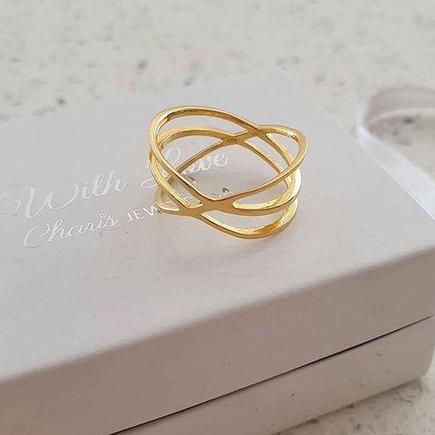 C1362-C38553 - Gold Plated 925 Sterling Silver Intertwining Ring