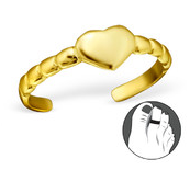 B61 - Gold Plated Heart Ribbed Design Toe Ring, adjustable
