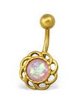 C318 - Stainless Steel Gold with Pink Opal Belly Ring