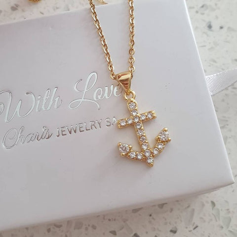 SS27-CB0223287 - Gold Stainless Steel CZ Anchor Necklace