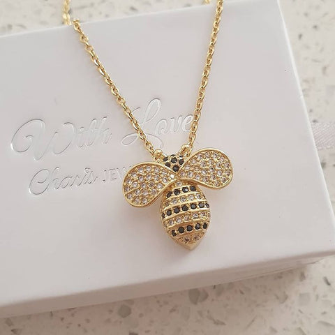 SS32-CB0111331 - Gold Stainless Steel CZ Bee Necklace