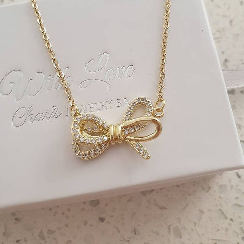 SS20-CB0212625 - Gold Stainless Steel Love / Friendship Knot Bow Necklace