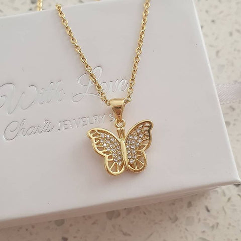 SS29-CB0212619 - Gold Stainless Steel CZ Butterfly Necklace