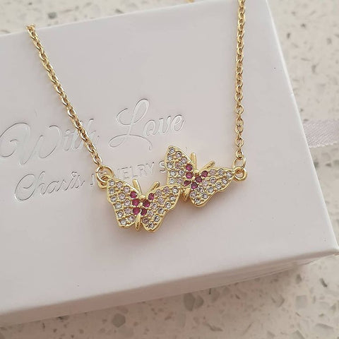 SS31-CB0151442 Gold Stainless Steel CZ Double Butterlfy Necklace