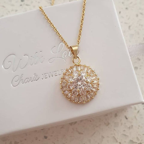SS26-CB0111328 - Gold Stainless Steel CZ Round Stone Necklace