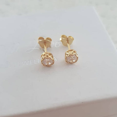A275-C3244 - Gold Plated Ear Stud CZ Earrings, 4m