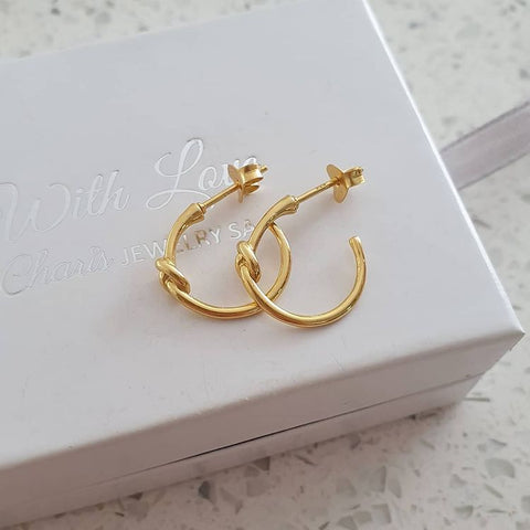 A168-C39051 - Gold Plated Round Love / Friendship Knot Earrings, 3x14mm