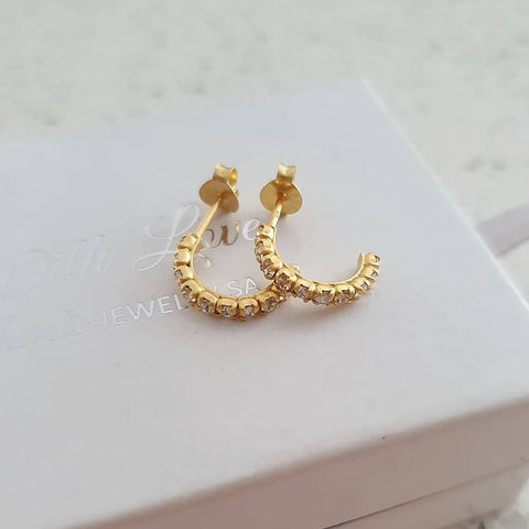 A309-C7151 - Gold Plated Crystal Half Hoop Earrings, 2x11mm