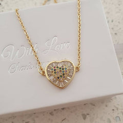 Gold heart cz stone necklace