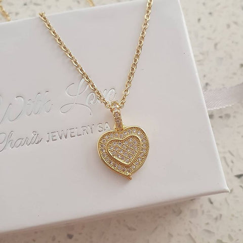 SS9-CB0120795 - Gold Stainless Steel CZ Stones Heart Necklace