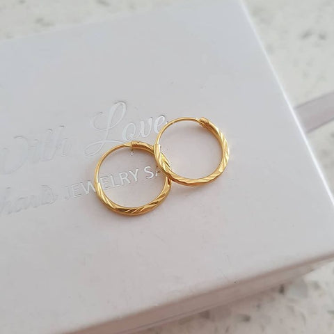 A310-C25110 - Gold Plated Hoop Earrings, 1.2x12mm