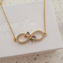 Gold cz infinity necklace