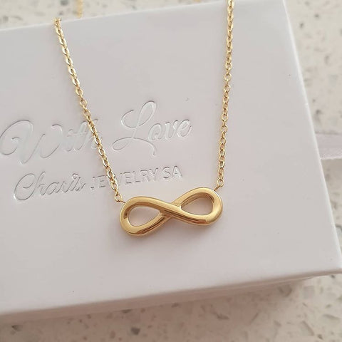 SS19-CB0135803 - Gold Stainless Steel Infinity Necklace