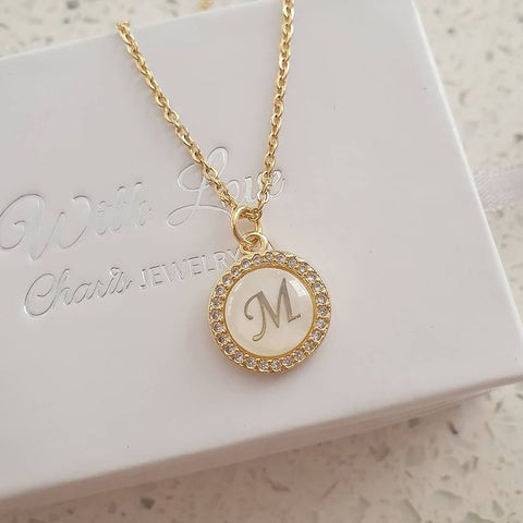 K18 - Initial Letter Necklace A-Z, Gold Stainless Steel with CZ Stones