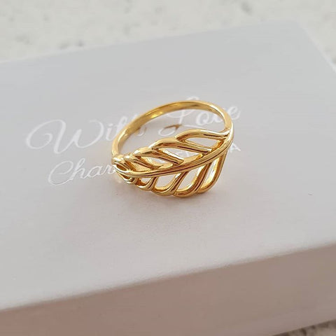A80-C39562 - Gold Plated 925 Sterling Silver Leaf ring