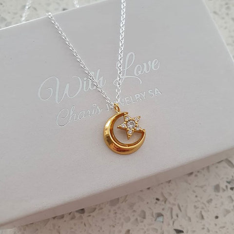 C1390-C37632  - 925 Sterling Silver and Gold Plated Moon and Star necklace