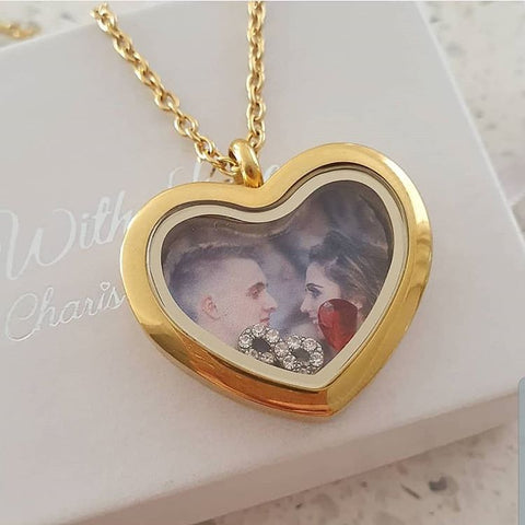 SET15 - Personalized Photo Heart Floating Locket with infinity & heart charms