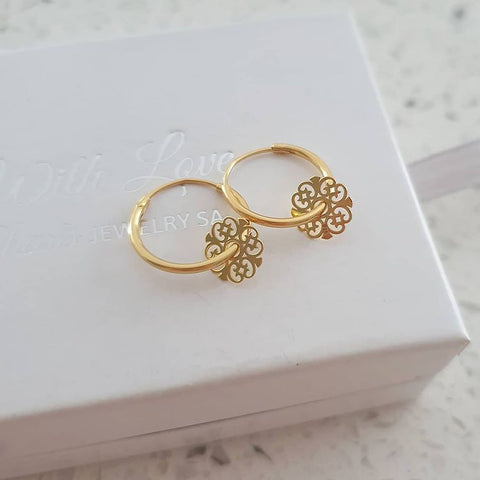 A283-C39199 - Gold Plated Round Hoop Dangle Earrings