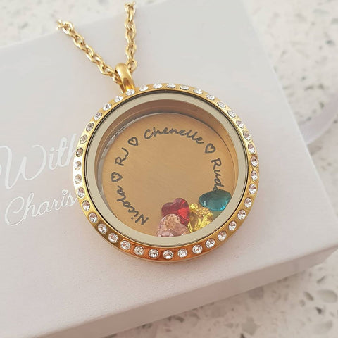 SET2 - Personalized Names & Birthstones Gold Floating Locket Necklace