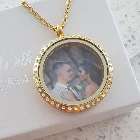 SET17 - Personalized Photo Floating Locket, Round Gold Stainless sTeel