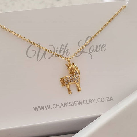 C1132-C40413 - Gold Plated 925 Sterling Silver Unicorn Necklace, 9x12mm, 45cm chain