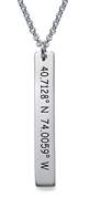 N134 - 925 Sterling Silver Personalized Coordinates Bar Necklace
