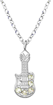 C676-C36050 - 925 Sterling Silver CZ Guitar Necklace