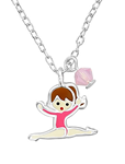 Sterling Silver children's Gymnast Gymnastics Necklace