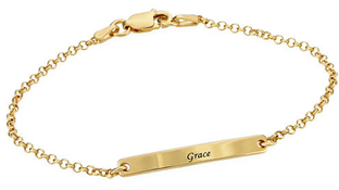 N163 - Women's ID Bracelet in 18K Gold plating over Sterling Silver
