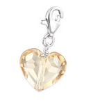 C407-C28992 - Light Silk Swarovski Crystal Sterling Silver Heart Dangle